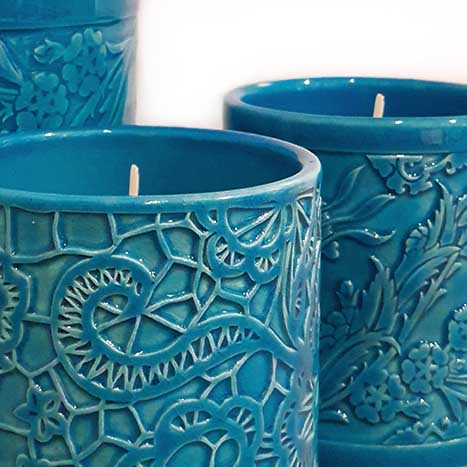 Lighting by ESMA DEREBOY seen at Hotel Raffles Istanbul - Handmade Ceramic Candle Holder for Raffles Istanbul
