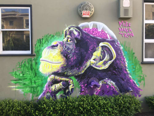 Street Murals by Mike Makatron seen at San Francisco, San Francisco - Monkey Brains