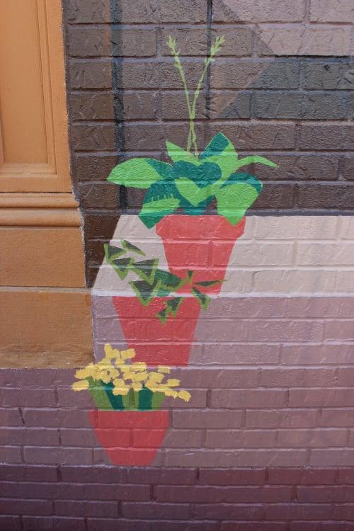 Street Murals by Ben Cowan seen at Bushwick, Brooklyn at Hart and Bushwick Ave, Brooklyn - Brownstone Door Mural