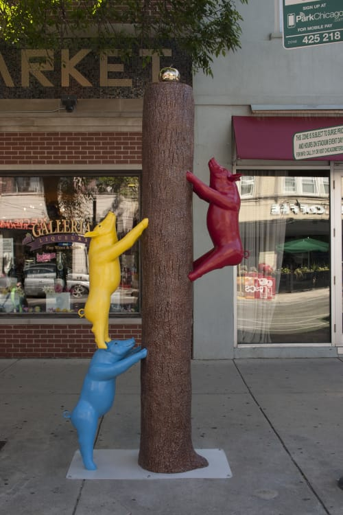 Public Sculptures by Micki LeMieux seen at 3401 N Southport Ave, Chicago - Three Little Pigs