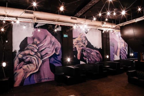 Murals by Taylor White seen at Oxford Art Factory, Darlinghurst - Holding Hands