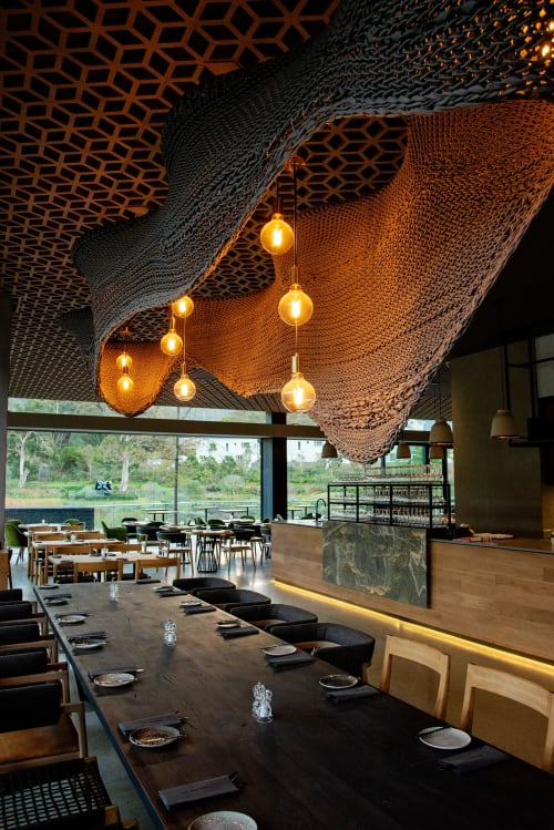 Lighting Design by Studio Lloyd seen at The Skotnes Restaurant, Cape Town - The Amoeba Light Sculpture