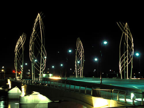 Public Sculptures by Vicki Scuri SiteWorks at Douglas Street over the Arkansas River, Wichita, KS, Wichita - Douglas Street Bridge