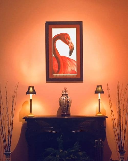 """Paintings by JALLEN Art and Design seen at ArtCenter/South Florida - Downtown, Miami - Flamingo, Watercolor 18"""" x 36"""""""
