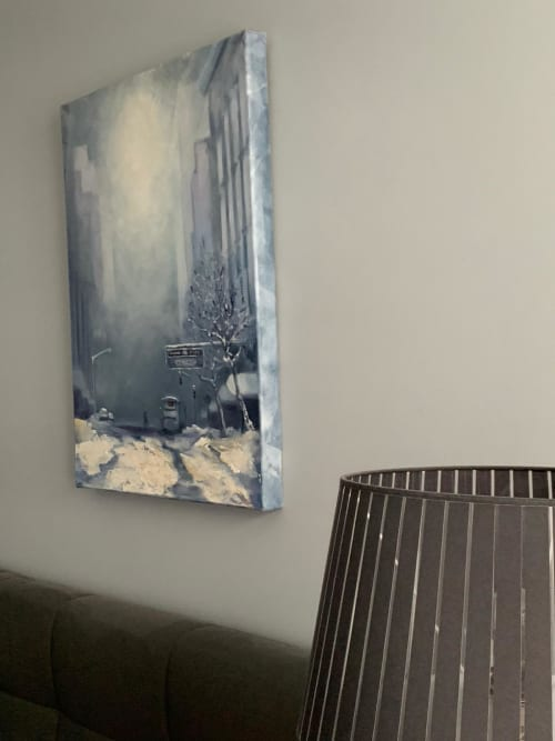 Paintings by Art by Bgr / Benedicte Grange Rogulski seen at Private Residence, Paris - A street in winter NYC