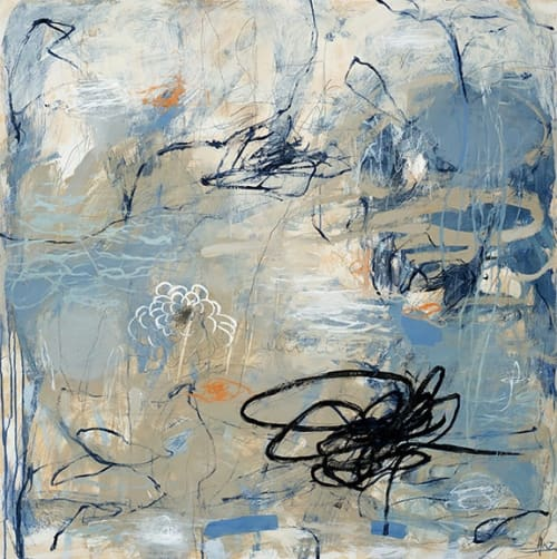 Paintings by Kate Zimmer Art seen at Private Residence, Sausalito - Dark And Stormy Series Black Squiggle