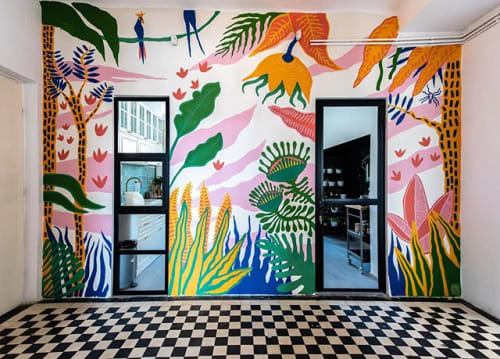 Murals by Smash Studio seen at Private Residence, Cluj-Napoca - Jungle Mural