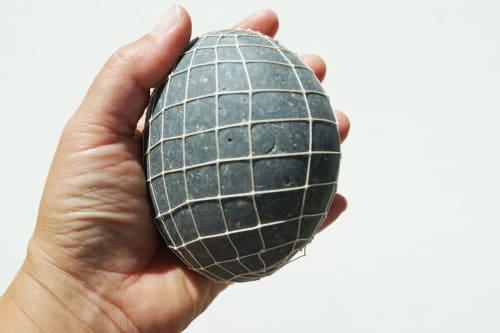 Sculptures by LAURA FISCHER seen at Leucadia, Encinitas - deep gray egg
