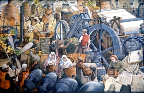 Street Murals by Gary Drostle – Drostle Public Arts Ltd seen at One Bell Corner, Dartford High Street, Dartford - One Town That Changed The World mural