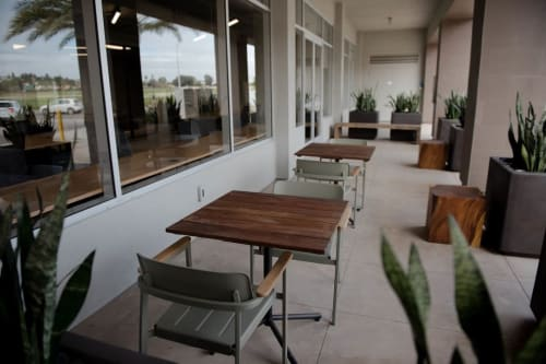 Tables by From the Source seen at CommonGrounds Workplace, Carlsbad - Reclaimed Teak Wood Gallant Tables