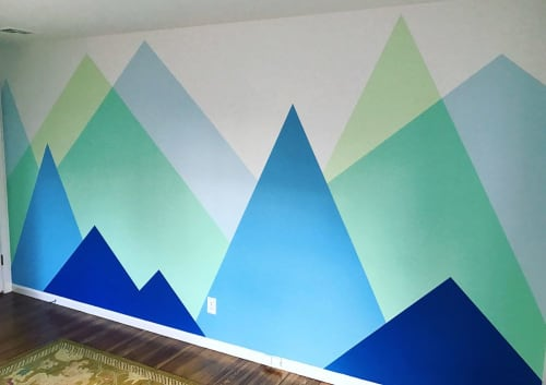 Murals by Toni Miraldi / Mural Envy seen at Private Residence, Katonah - Modern Mountain Nursery Mural