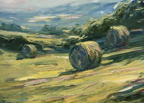 Paintings by Rupert Aker seen at Private Residence - Evening with hay bales