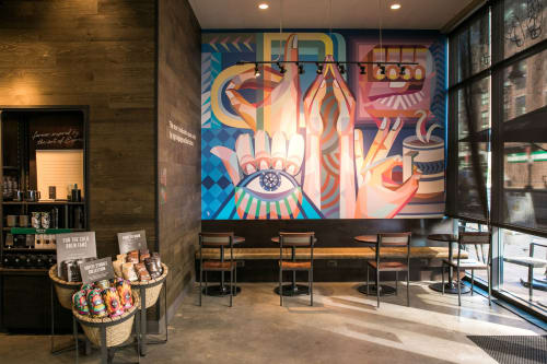 "Murals by Yi Illustration 365days seen at Starbucks, 625 H St NE B, Washington - ""Vibrant"""