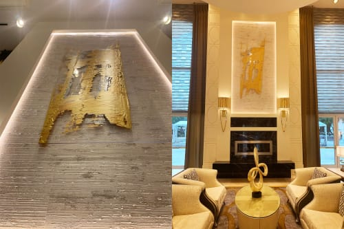 Paintings by Pamela Nielsen Contemporary Art seen at One Turnberry Place Condo, Las Vegas - GOLD