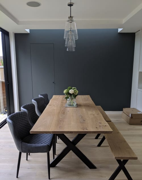Tables by Rag & Byrne seen at Private Residence, London - Live Edge Oak Table & Bench Set