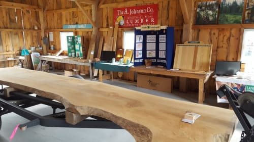 Tables by Vermont Tree Goods seen at Addison County Fair & Field Days, Vergennes - Sycamore Slab