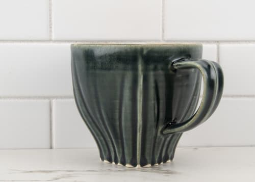 Cups by M.L. Pots seen at Creator's Studio, Borden - Draped Coffee Cup with Nightfall Grey Glaze - 004