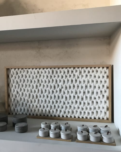 Wall Hangings by Emily Barton Design seen at Provision, Hartwell - Framed Half Moon Wood Shapes Wall Art