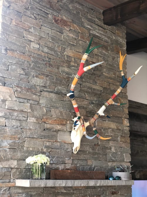 Sculptures by Cassandra Smith seen at Private Residence - Hand-Painted Elk Antlers