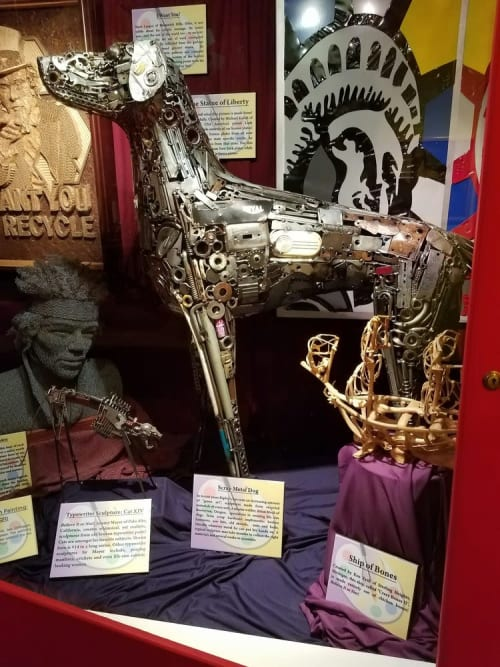 Sculptures by Brian Mock seen at Ripley's Believe It or Not!, Atlantic City - Ripley's Scrap Metal Dog