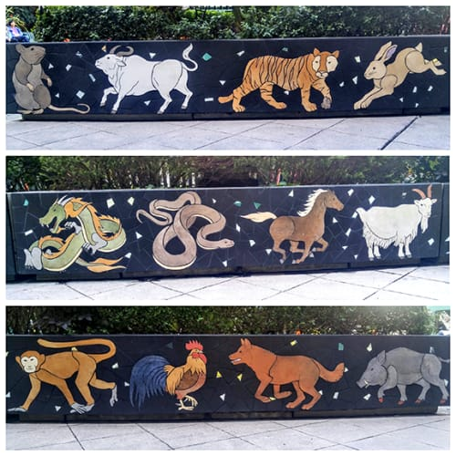 Public Mosaics by New World Mosaics seen at Pacific Renaissance Plaza, Oakland - Chinese Zodiac