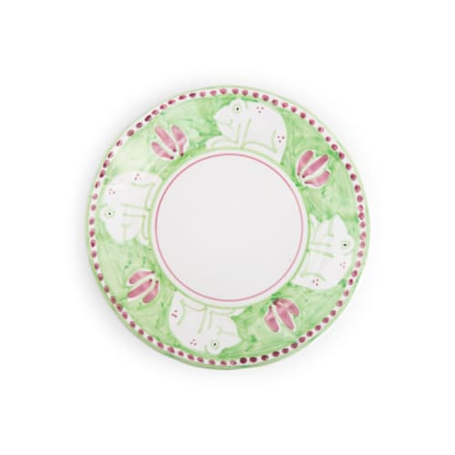 Ceramic Plates by Ceramica Assunta Positano seen at Le Sirenuse Miami, Surfside - Light Green Frog Design Soup plate 9,65 inch (Animal Decorations)