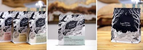 Art & Wall Decor by Loe Lee seen at Novel Coffee Roasters - Roasting Facility, Dallas - Novel Coffee Roasters Packaging