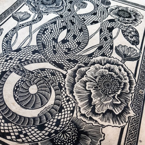 """Art & Wall Decor by RLH Prints seen at Private Residence, London - """"Liliths Garden"""" - Snake and Poppies Lino Print"""