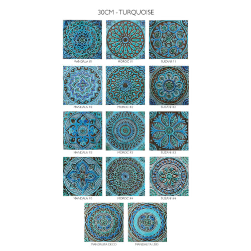 Art & Wall Decor by GVEGA seen at Private Residence - Tile wall art installation with decorative turquoise tiles