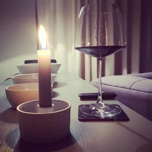 Interior Design by Sarah Bartlem Ceramics seen at Private Residence, Manchester - Candle holder