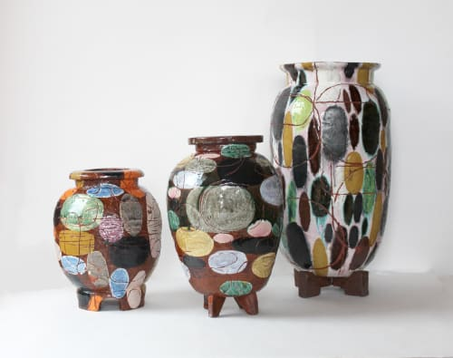 Vases & Vessels by Christopher Russell seen at New York, NY  Studio, New York - Three Earthenware Vessels