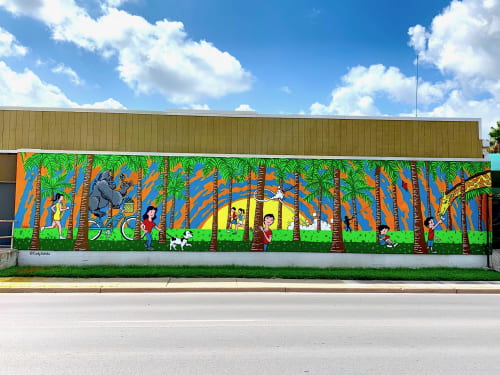 Murals by Cody Schibi seen at Brownsville Parks & Recreation, Brownsville - The Palm Forest