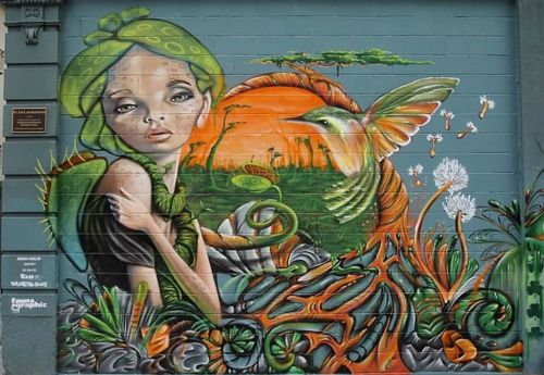 Street Murals by Fauna Graphic seen at 460 Larkin St, Downtown, San Francisco - Nature Fairy