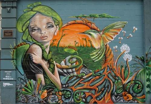 Street Murals by Fauna Graphic seen at 460 Larkin St, Downtown, San Francisco - Nature Fairy