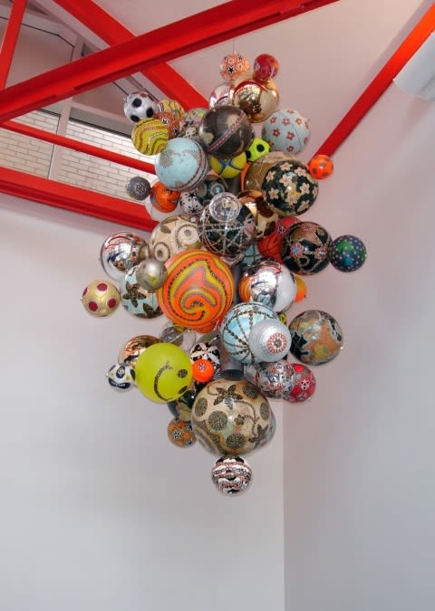 Sculptures by Luisa Caldwell seen at P S 244, Queens - Thought Bubbles: Earth, Sky, Sun & Universe