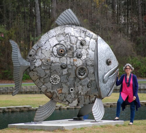 Public Sculptures by Donald Gialanella seen at Roswell Area Park Lake, Roswell - Celestial Fish
