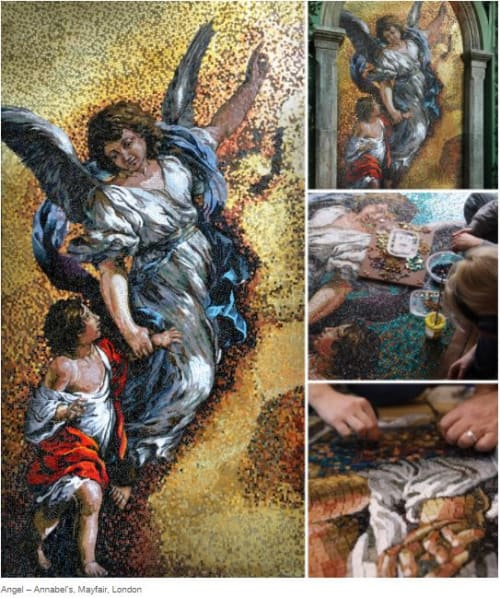 Murals by Paul Siggins - The Mosaic Studio seen at Annabel's, London - Guardian Angel Mosaic Feature Wall, Annabel's Mayfair