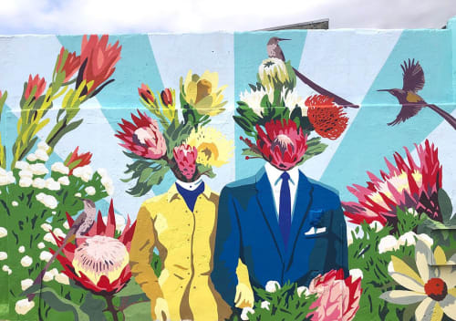 Street Murals by Kipper Millsap seen at 5 Durham Ave, Cape Town - Birds of Paradise