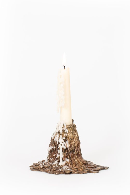 Sculptures by Ray G Brown seen at Private Residence, London - Lost Wax Candlestick