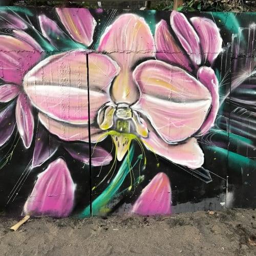 Street Murals by Max Ehrman (Eon75) seen at Canggu Beach - Orchid Mural