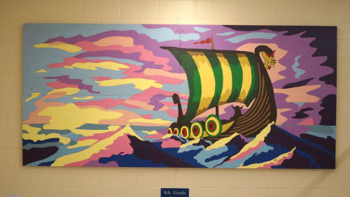 Paintings by Kevin Orlosky seen at Elkhardt-Thompson Middle School, Richmond - Vikings