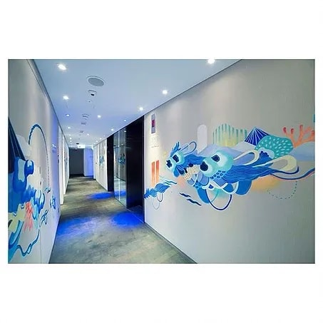 Murals by Frankie Cihi seen at Hotel sáv - Floor Of Ocean