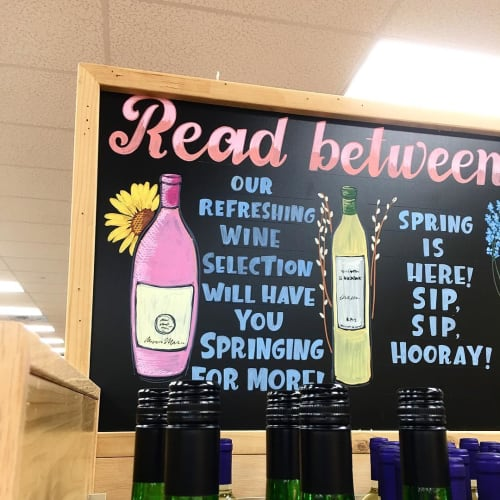 Signage by Blooming Chalk seen at Trader Joe's, Baton Rouge - Chalk Board Art