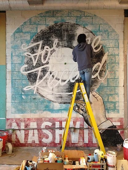 Murals by I Saw The Sign seen at 506 Lofts- Nashville Vacation Rentals, Nashville - For The Record