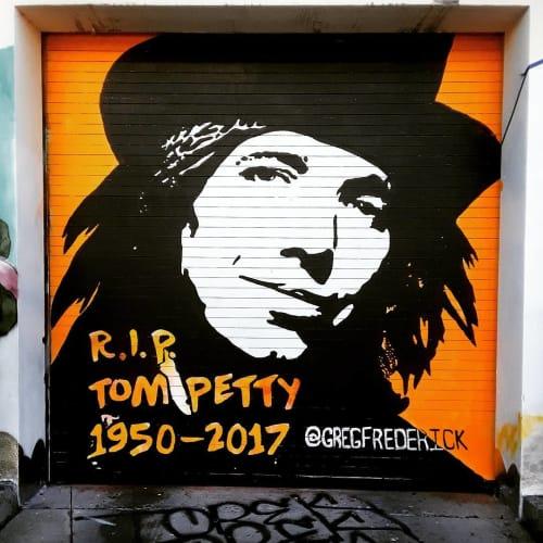Street Murals by Greg Frederick seen at Wynwood Walls, Miami - RIP Tom Petty