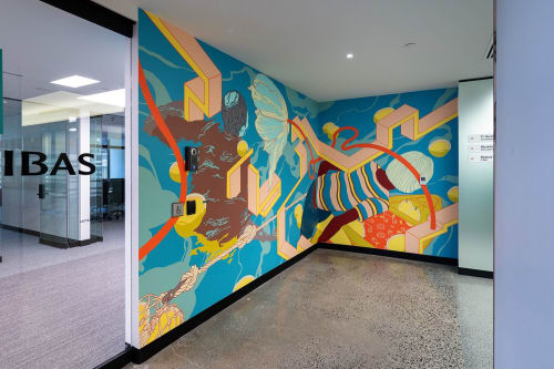 Murals by DORAS seen at BNP Paribas, Montréal - Flow 1