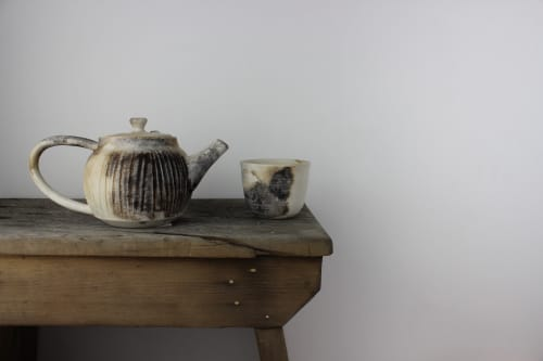Tableware by caroleneilsonceramics seen at Private Residence, San Francisco - Smoky White Tea Pot + cup