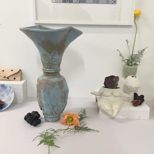 Vases & Vessels by Freya Bramble- Carter seen at Kingsgate Workshops | Kingsgate Project Space, London - Ceramic Blue Vase