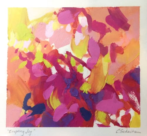 "Paintings by Cameron Schmitz seen at Private Residence, Greenwich - ""Erupting Joy"", oil on paper"