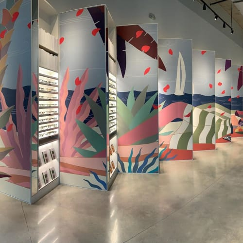 Murals by Mike Willcox seen at Miami Design District, Miami - Warby Parker Mural Miami